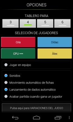 Parchis Android oponentes