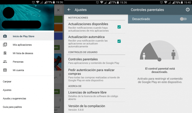 Ajustes Google Play control Parental