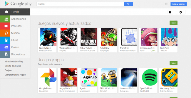 Google Play vista ordenador