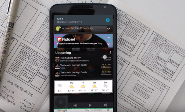 widgets en la barra de notificaciones