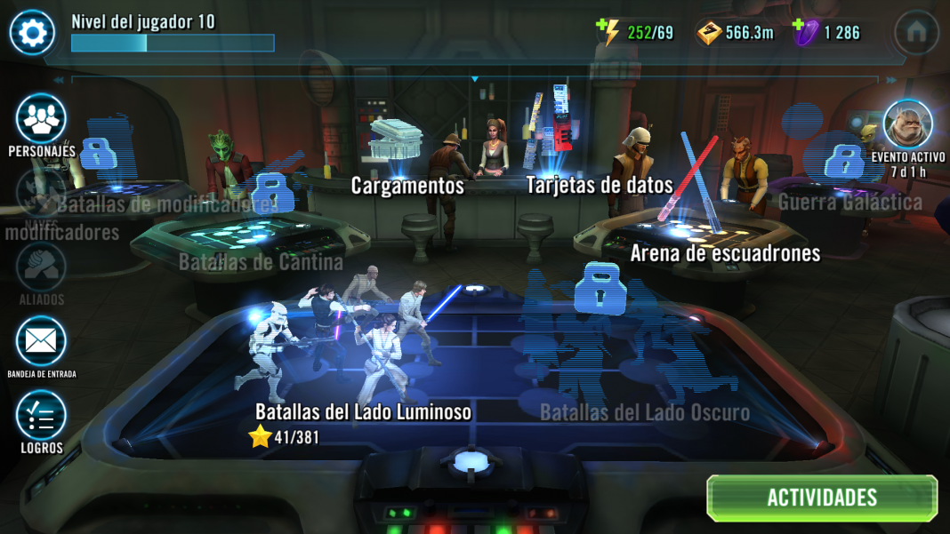 Menu Star Wars galaxy heroes android